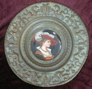 Good Antique French Porcelain Portrait Plate With Elaborate Repousse Brass Frame