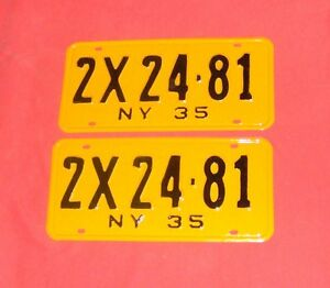 1935 New York License Plates For Ford Chevy Dodge Buick Cadillac Pontiac 2x24 81