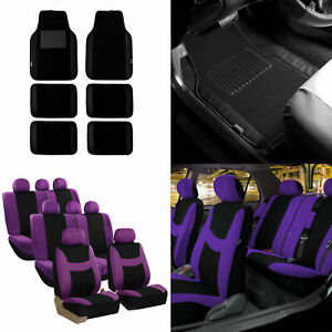 3 Row 8 Seaters Purple Seat Covers Combo W Black Leather Trim Carpet Floor Mats