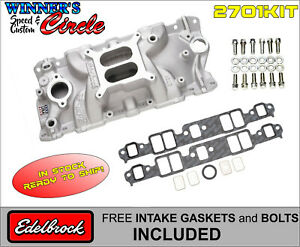Edelbrock 2701 Perf Eps Intake Sb Chevy W Free Edelbrock Bolts And Gaskets