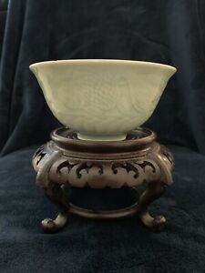 Antique Chinese Celadon Bowls Carved Goldfish Pattern 5 Inches Asian Collection