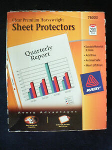 New Avery Heavyweight Sheet Protector 200 Pack 76003