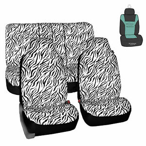 Universal Highback Seat Covers Full Set White Zebra For Auto W Gift