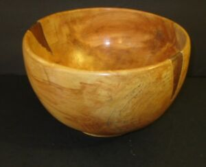 1995 River Birch Handmade 2 Tone Large Wooden Bowl Signed