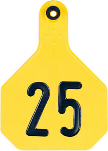 4 Star Large Cattle Id Ear Tags Yellow Numbered 1 25
