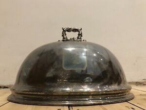 Antique Silver Plated Sheffield Meat Dome Engraved Danish Tower Thomas Bradbury