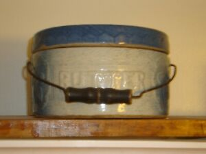 Wow Antique Gray Blue Stoneware Butter Crock With Lid Wood Handle 1800s