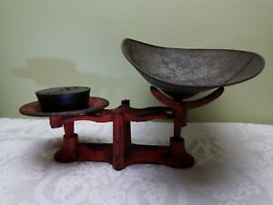 Vintage Cast Iron Balance Scale 146 W Tin Pan W 2lb Weight Candy Antique