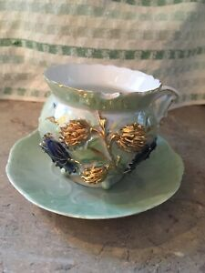 Antique German Germany Gold Gilded Luster Cup Saucer Set Tea Coffee