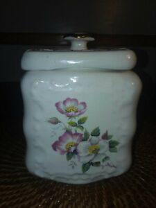 Antique Porcelain Biscuit Jar With Flowers 7 Tall