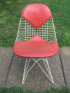 Vintage Eames Bikini Chair With Eiffel Base White Wire Red Vinyl Provenance