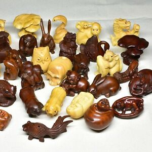 15 Pcs 2 Handcarved Japanese Boxwood Netsuke Wholesale Bulk Sale In Quantity
