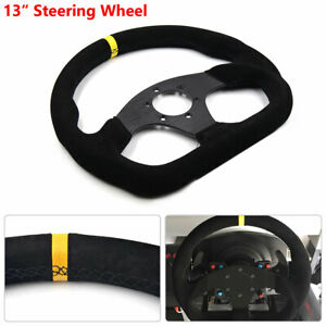 13inch Auto Flat Red Suede Leather Racing Drift Sport Steering Wheel Nice