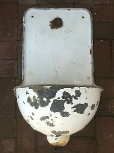 Antique French Cast Iron Porcelain Enamel Wall Fountain Lavabo Sink From Europe
