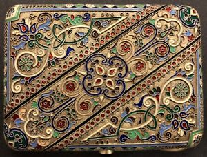 Antique Imperial Russian Enamel 84 Silver Cigarette Case 11 Artel
