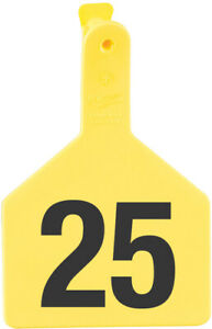 Z Tags Cow Ear Tags Yellow Numbered 101 125