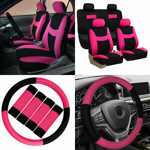Car Seat Covers Pink Black 16pc Set For Auto W Steering Wheel Belt Pad Head Rest