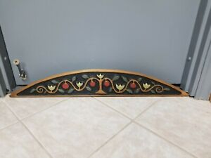 Folk Art Primitive Carved Wood Door Topper Arch Wall Hanging Chicken Creek
