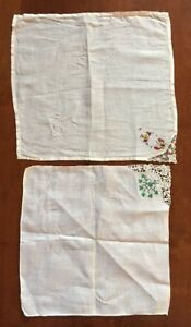 Beautiful Antique Hankerchiefs Set Of Two Handmade Lace Needlepoint