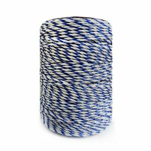 Electric Fence Poly Wire White Blue With Steely Rope For Fencing Low Resistance