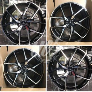 New 20 Staggered Black Machined Face Style Wheels Rims Mercedes Benz Set 4