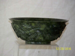 Chinese Spinach Jade Carved Dragon Sides Bowl W Box