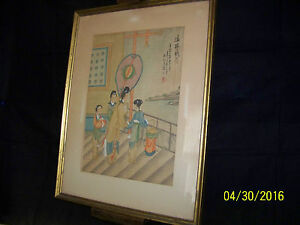 Antique Chinese Qing Dy Original Painting On Silk Paper Signed Marked Framed