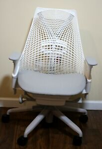 Herman Miller Sayl Office Chair Studio White And Crepe Shale Fabric Loaded new
