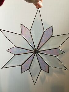 Beautiful Beveled Stained Glass Art Clear And Iridescent Glass Flower 12 5