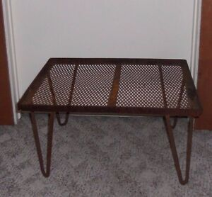 Vintage Expanded Mesh Metal Iron Table Foot Stool Ottoman Hairpin Leg