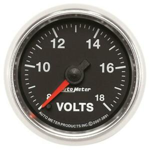 Auto Meter Voltmeter Gauge 3891 Gs 8 To 18 Volts 2 1 16 Full Sweep Electrical