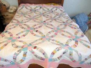Vintage 1925 Hand Stitched Double Wedding Ring Quilt Feed Sacks Aqua