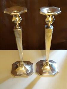Antique Pair Of Clarence A Vanderbilt Sterling Candlestick Holders