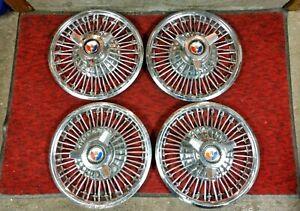 4 1960 S 1965 Ford Mustang Falcon Fairlane Galaxie 14 Wire Spinner Hubcaps