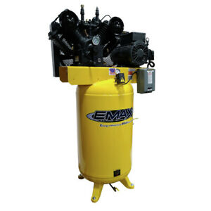 Emax 80 Gallon 7 5 Hp 2 stage 1 phase Vertical Air Compressor Pe07v080v1 New