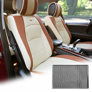 Pu Leather Seat Cushion Covers Front Bucket Beige W Gray Dash Mat For Car