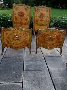 Signed Italian Venetian Painted French Multi Color Floral Twin Day Beds