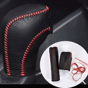 Genuine Leather Hand Brake Automatic Gear Shift Knob Cover For 12 18 V W Passat