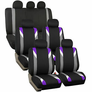 3 Row Car Seat Cover Set For Suv Minivan Purple With 7 Headrests