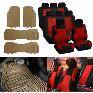7 Seaters 3 Row Suv Seat Covers For Auto Red Black With Beige Rubber Floor Mats