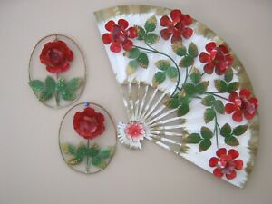 Vtg Metal Tole Floral White Red Roses Fan Wall Hanging Shabby Cottage D Cor