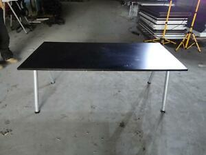 Ikea Galant Black Silver Adjustable Height Work Surface Table Computer Task Desk