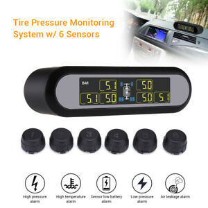 Solar Digital Lcd Tpms Tyre Pressure Monitor System 6 Sensors For Pickup Trailer
