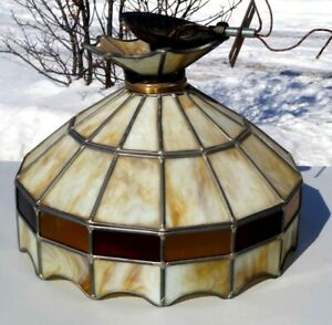 Antique 1930s Leaded Stained Cream Slag Art Glass Hanging Lamp Shade For Repair