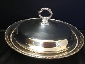 Towel Contemporary Silver Covered Vegetable Server Tureen Casserole