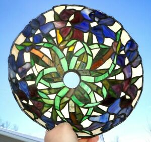 Antique 1920s 30s Leaded Stained Slag Art Glass Lamp Shade Vines Foliage Pattern