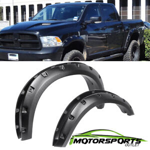 For 2009 2017 Dodge Ram 1500 Black Rivet Fender Flares Set Rugged Pocket Style
