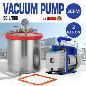 2 Gallon Vacuum Pump Chamber And 3 Cfm 50 L Min Degassing Kit Stainless Steel