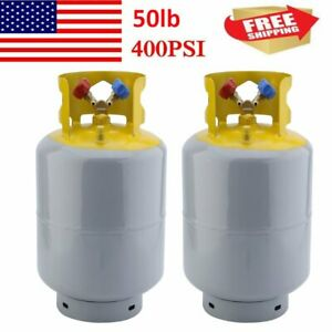 2 Pcs 50lb Refrigerant Recovery Cylinder Tank Reusable Recovery Device 400 Psi