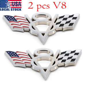 2x Metal V8 American Flag Car Emblem Badge Sticker Decal Fit For Chevrolet
